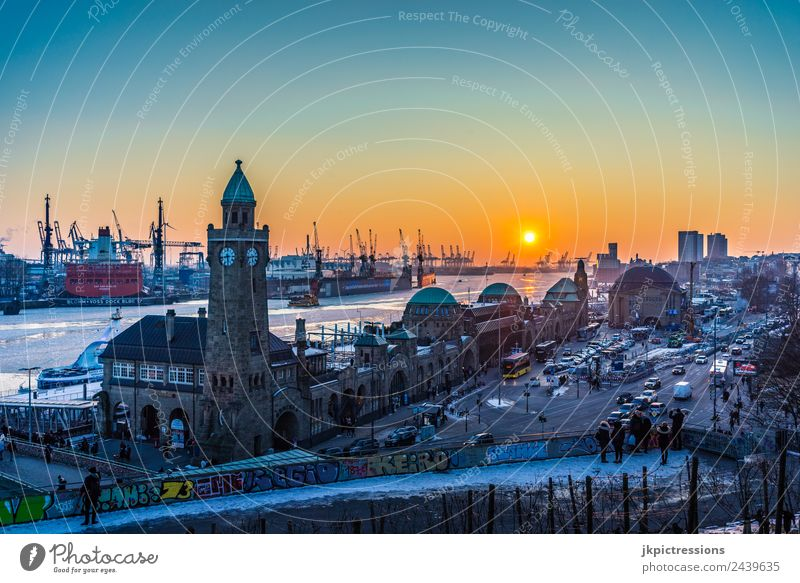 Hamburg Harbour Landungsbrücken Sunset in Winter Europe Germany Northern Germany Snow Ice Elbe Frozen Water Channel Street Car Transport Watercraft Cold Romance