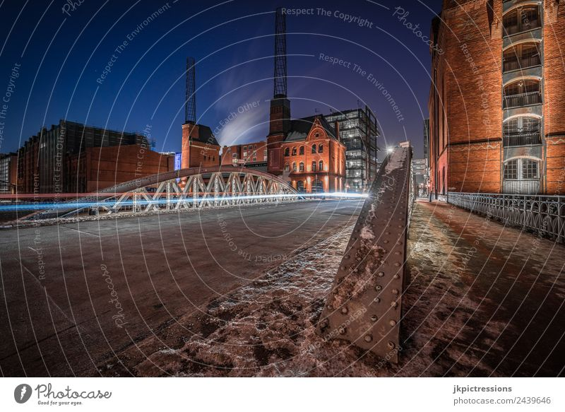 Bridge at the Kesselhaus Hamburg in winter Europe Germany Old warehouse district Harbour World heritage Night Night shot Long exposure Tracer path Snow Ice
