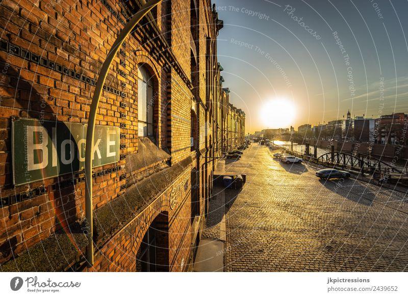 Hamburg Speicherstadt Block E Sunset Twilight Evening Light Romance Brick Old warehouse district Germany World heritage Water Blue sky Cloudless sky