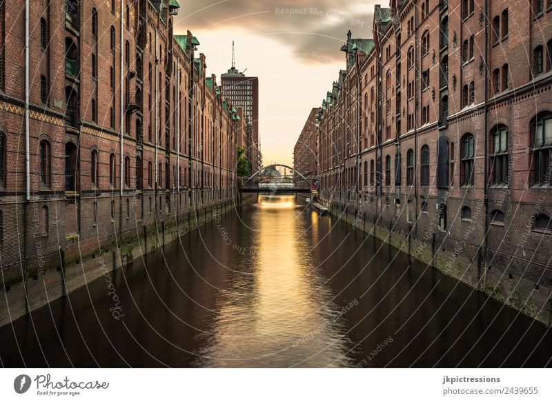 Hamburg Speicherstadt, Fleet, dusk twilight Twilight Evening Sunset Light Romance Brick Old warehouse district Germany World heritage Water Dark Clouds