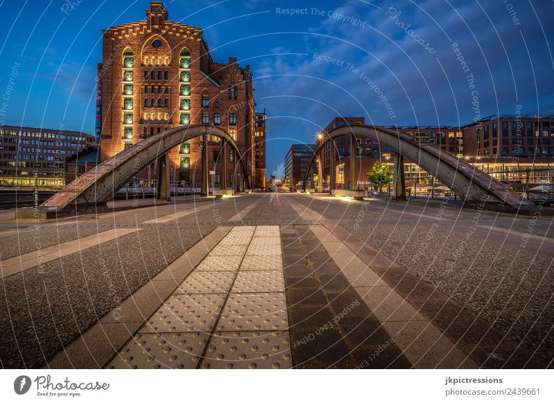 Hamburg International Museum Hamburg Night Evening Dark Light Lighting Romance Brick Old warehouse district Germany World heritage Reflection Blue sky