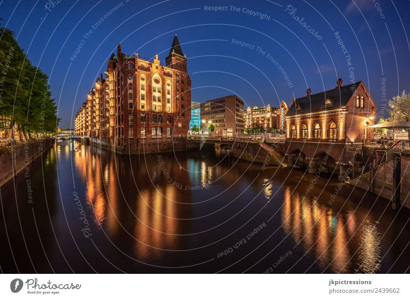 Beautiful Water Tree House (Residential Structure) Calm Dark Architecture Lighting Germany Facade Romance Bridge Historic Hamburg Tourist Attraction Landmark