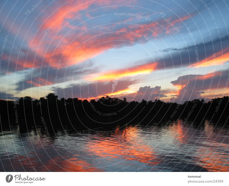 summernight Brazil Amazonas Sunset Red Reflection River Colour Blue Orange