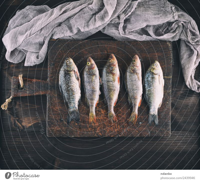 fresh fish perch and carp Fish Seafood Herbs and spices Nutrition Dinner Diet Table Animal River Wood Dark Fresh Above Retro Brown Black Perches crucian carp