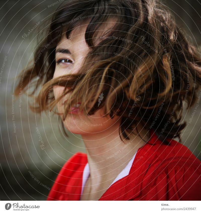 ulreka Feminine Woman Adults 1 Human being Dress Brunette Long-haired Curl Observe Movement Rotate Looking Beautiful Joie de vivre (Vitality) Self-confident