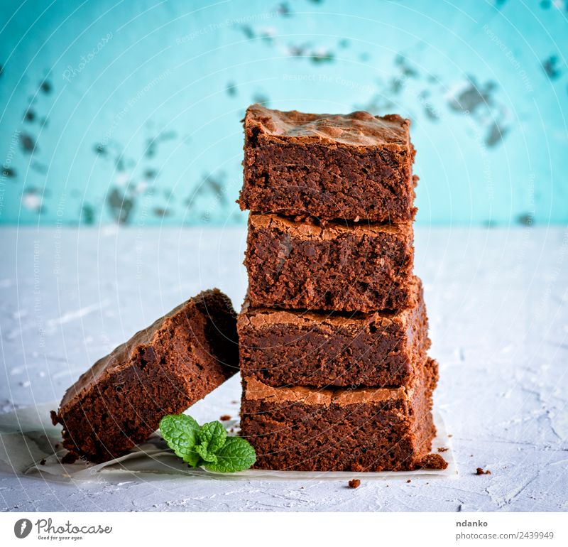 baked brownie pie Cake Dessert Candy Nutrition Leaf Eating Dark Fresh Delicious Soft Brown White brownies chocolate Stack background Home-made sweet Tasty