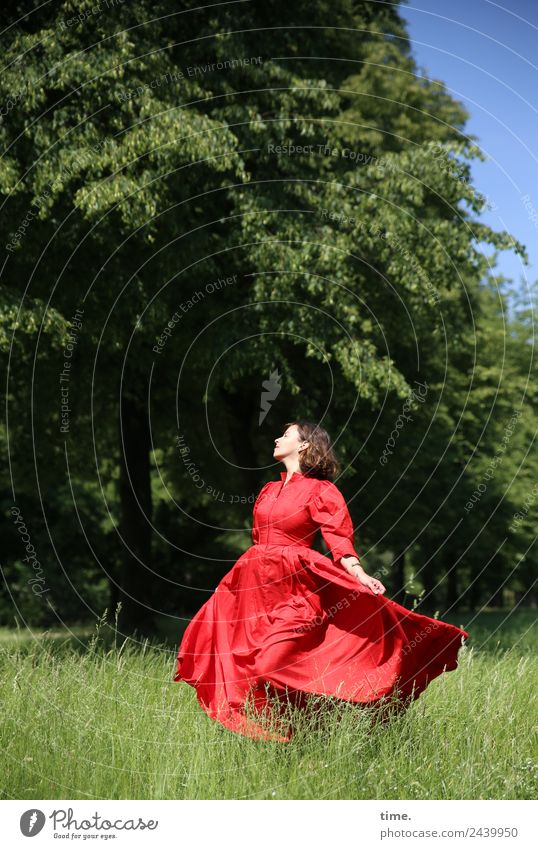 Woman Human being Beautiful Tree Red Relaxation Joy Adults Life Spring Meadow Feminine Movement Time Happy Freedom