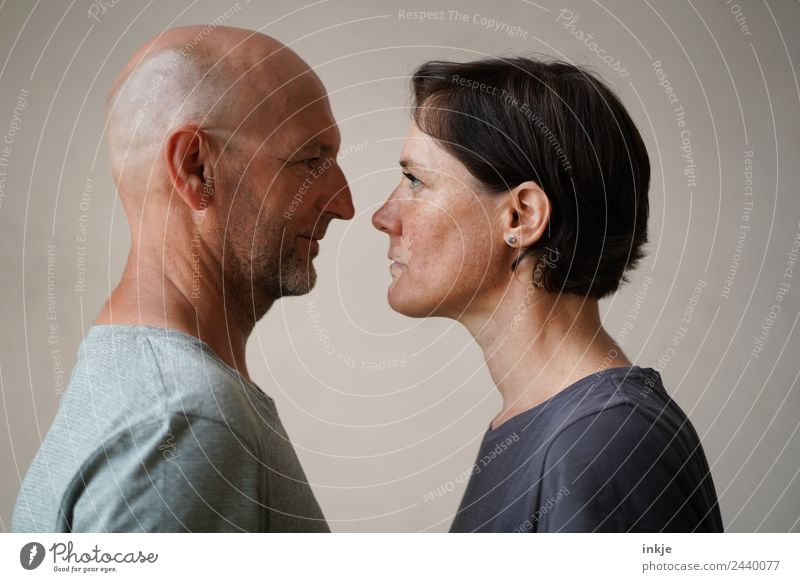 Man and woman face each other Lifestyle Woman Adults Face 2 Human being 30 - 45 years 45 - 60 years Looking Authentic Together Emotions Moody Agreed Loyal