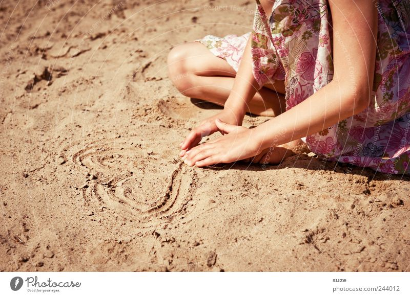 Human being Child Nature Hand Summer Vacation & Travel Beach Love Feminine Playing Sand Legs Infancy Leisure and hobbies Arm Heart