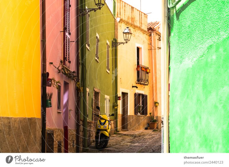 Bosa, colourful alley Vacation & Travel Far-off places City trip Summer Living or residing House (Residential Structure) Beautiful weather Italy Sardinia