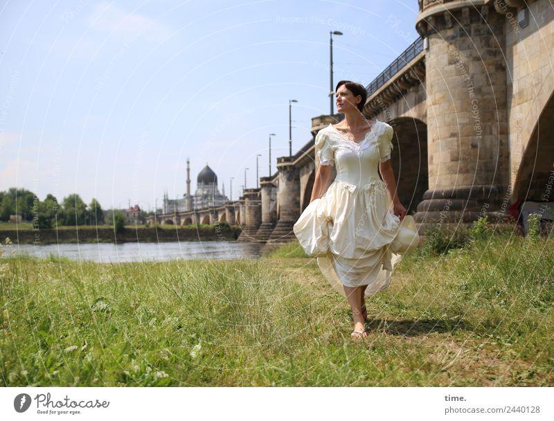 bridal show Feminine Woman Adults 1 Human being Beautiful weather River bank Dresden Bridge Tourist Attraction Landmark Dress Wedding dress Brunette