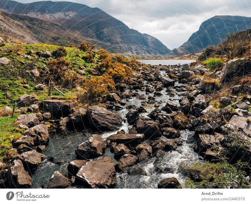 Ireland - Gap of Dunloe Vacation & Travel Tourism Trip Freedom Sightseeing Nature Landscape Water Sky Clouds Spring Summer Meadow Hill Rock Mountain Lakeside