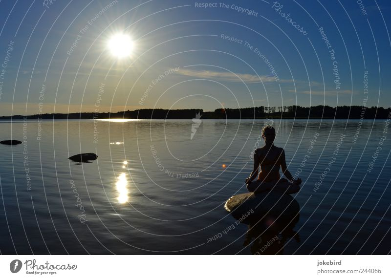 mirroring peace Happy Harmonious Well-being Contentment Relaxation Calm Meditation Freedom Summer Sun Sports Yoga Human being Feminine Young woman