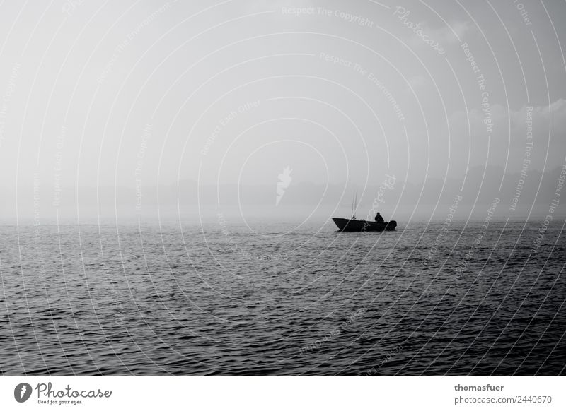 Boat on the sea in the fog with fishermen Fishing (Angle) Freedom Summer Ocean Retirement Closing time Fishing boat Fisherman Fishery Human being Masculine Man
