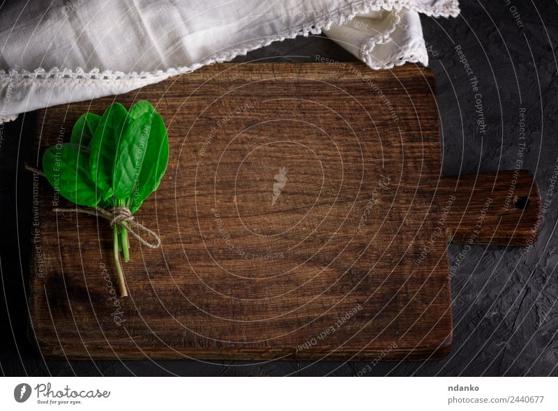 old vintage kitchen cutting board Herbs and spices Table Kitchen Nature Plant Leaf Wood Old Fresh Natural Above Brown Green Black background bunch empty food