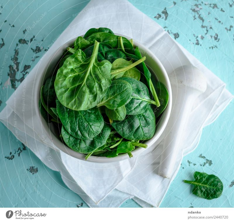fresh green spinach leaves Vegetable Lettuce Salad Nutrition Vegetarian diet Diet Plate Table Nature Plant Leaf Wood Eating Fresh Natural Green White mortar Raw