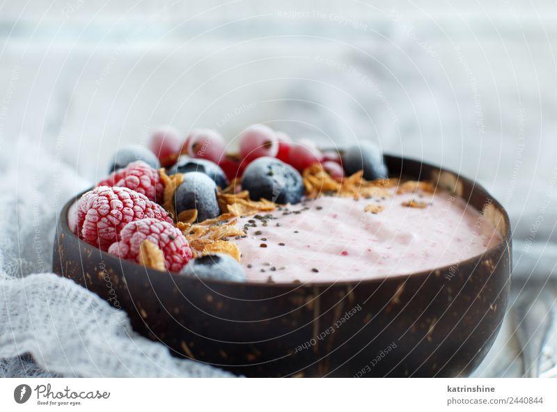 Wild berries smoothie bowl Yoghurt Fruit Dessert Nutrition Breakfast Vegetarian diet Diet Bowl Spoon Summer Fresh Pink Red White background Berries blended chia