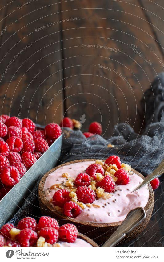 Raspberries smoothie bowls Summer White Red Copy Space Pink Fruit Nutrition Fresh Breakfast Dessert Berries Bowl Diet Vegetarian diet Vitamin Spoon