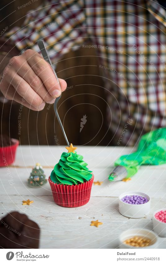 cupcake christmas tree Christmas & Advent Colour Green White Tree Winter Feasts & Celebrations Bright Decoration Frost Dessert Home Horizontal Festive Muffin