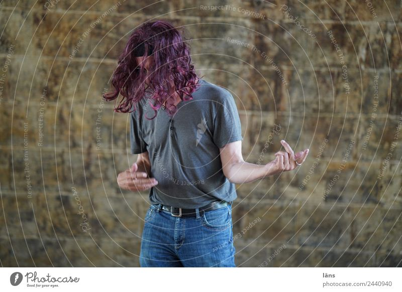 Air guitar 2 Joy Music Feasts & Celebrations Human being Masculine Man Adults Life 1 Guitar T-shirt Jeans Hair and hairstyles Long-haired Curl Movement
