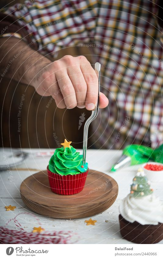 cupcake christmas tree Dessert Winter Decoration Feasts & Celebrations Christmas & Advent Tree Bright Green White Colour background Baking colorful copy cream