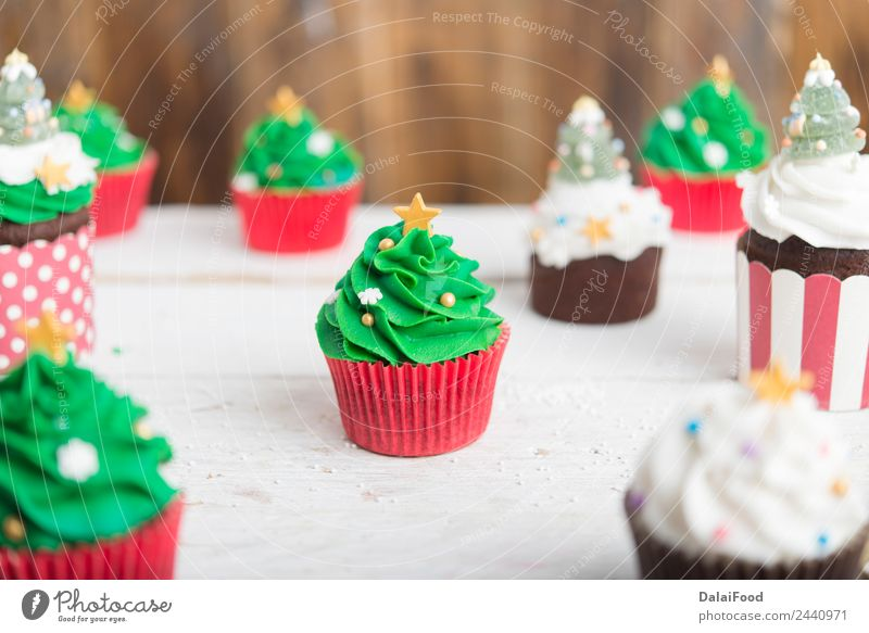 cupcake Christmas tree Dessert Winter Decoration Feasts & Celebrations Christmas & Advent Tree Bright Green White Colour background Baking christmas colorful