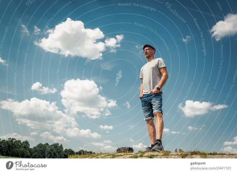 There's no time for the title  UT Dresden Human being Masculine Man Adults Life Nature Landscape Sky Clouds Sun Summer Beautiful weather Hill Stand