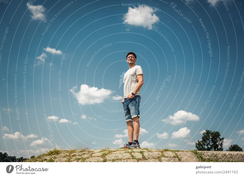 Vision | UT Dresden Life Meditation Fragrance Summer Sun Human being Masculine Man Adults 1 Nature Landscape Sky Clouds Beautiful weather Hill Stand Dream