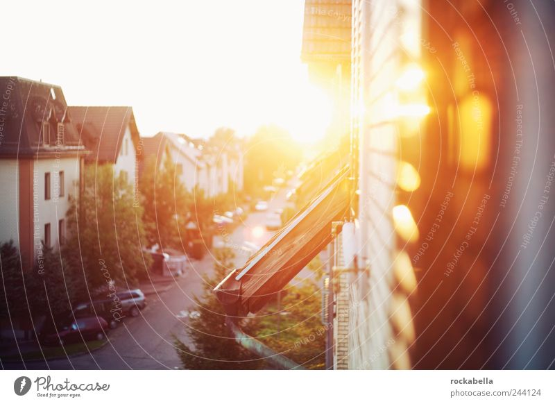sunset in heidiland. House (Residential Structure) Esthetic Warmth Hope Belief Beginning Joy Sunset Street Car Settlement Housefront Summer Roof Eaves