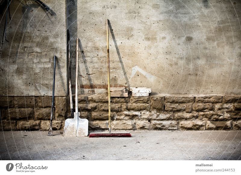 Work and employment Wall (building) Gray Wall (barrier) Brown Construction site Clean Retirement Tool Comfortable Gardening Lean Shovel Broom Unwavering
