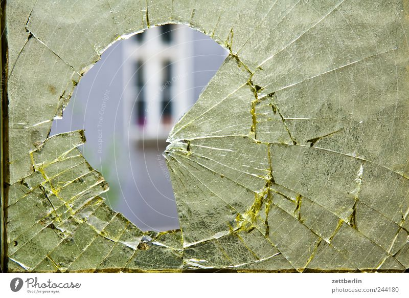 hole Downtown House (Residential Structure) Manmade structures Building Architecture Wall (barrier) Wall (building) Facade Window Glass Throw Broken Anger