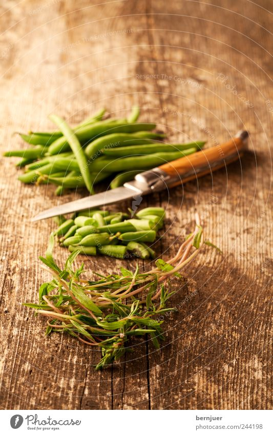 Satureya Food Vegetable Vegetarian diet Diet Knives Appetite Beans Summer savory Cut Snippets Wooden board Herbs and spices Green Colour photo Subdued colour