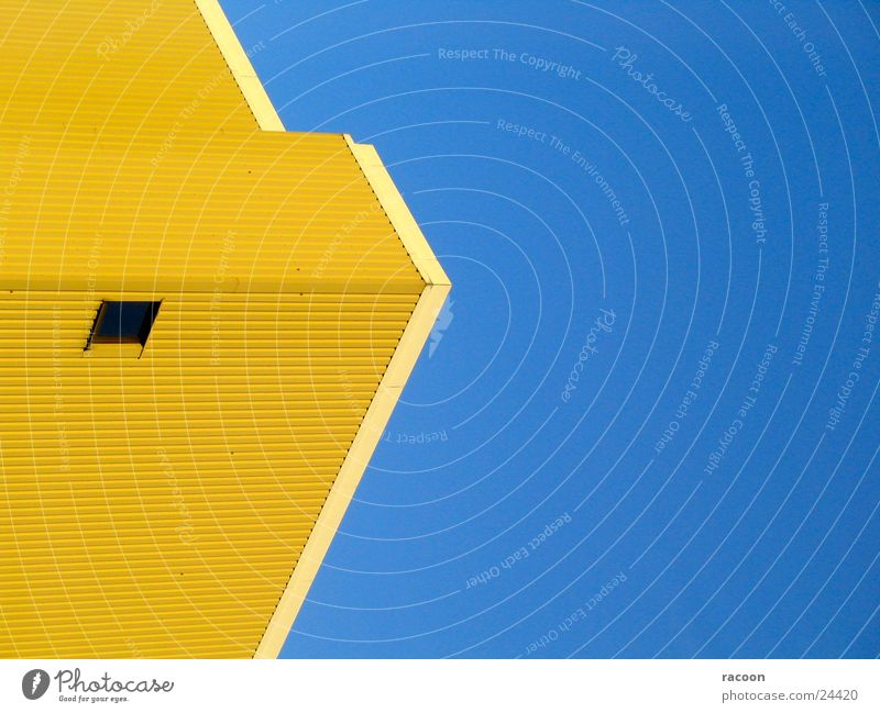 buildings Office building Yellow Window Architecture Modern Blue Arrow Sky Contrast