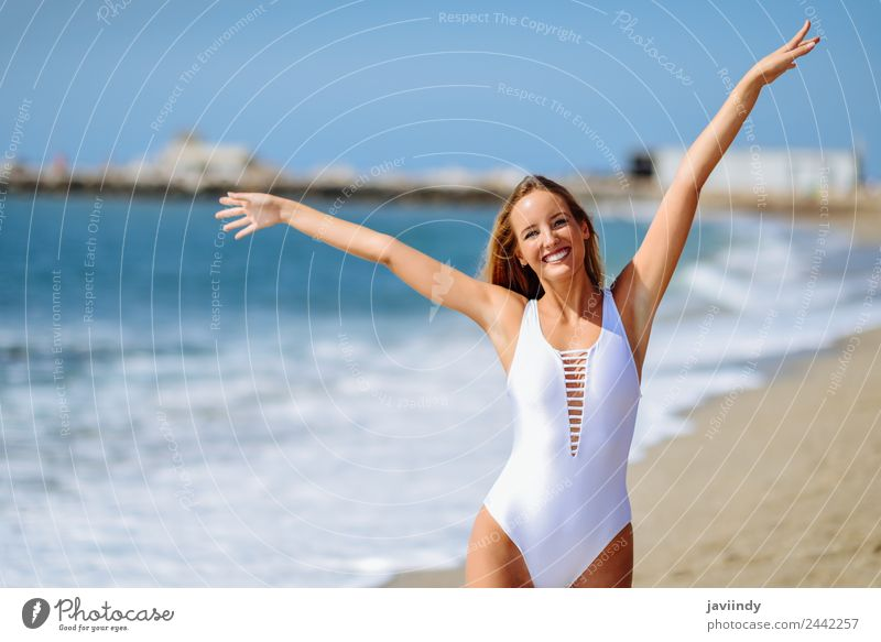 Young blonde woman on a tropical beach with open arms Beautiful Vacation & Travel Tourism Summer Beach Ocean Human being Feminine Young woman