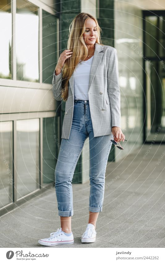 Beautiful young caucasian woman in urban background. Lifestyle Style Hair and hairstyles Human being Feminine Young woman Youth (Young adults) Woman Adults 1