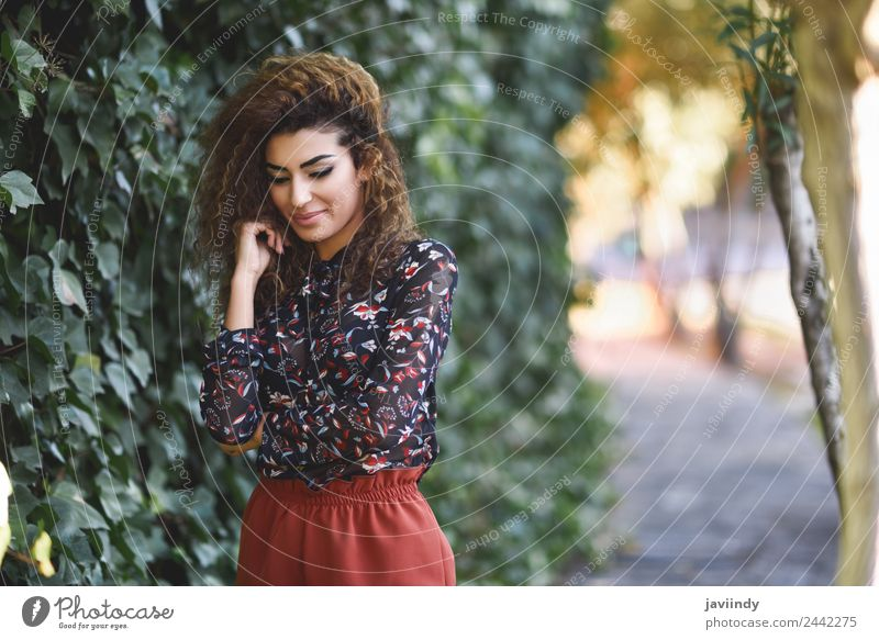 Beautiful young arabic woman with black curly hairstyle Lifestyle Style Hair and hairstyles Human being Feminine Young woman Youth (Young adults) Woman Adults 1