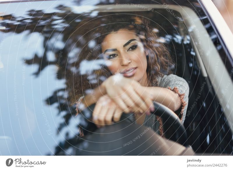 Beautiful young arabic woman inside a nice white car Lifestyle Hair and hairstyles Face Vacation & Travel Trip Human being Young woman Youth (Young adults)