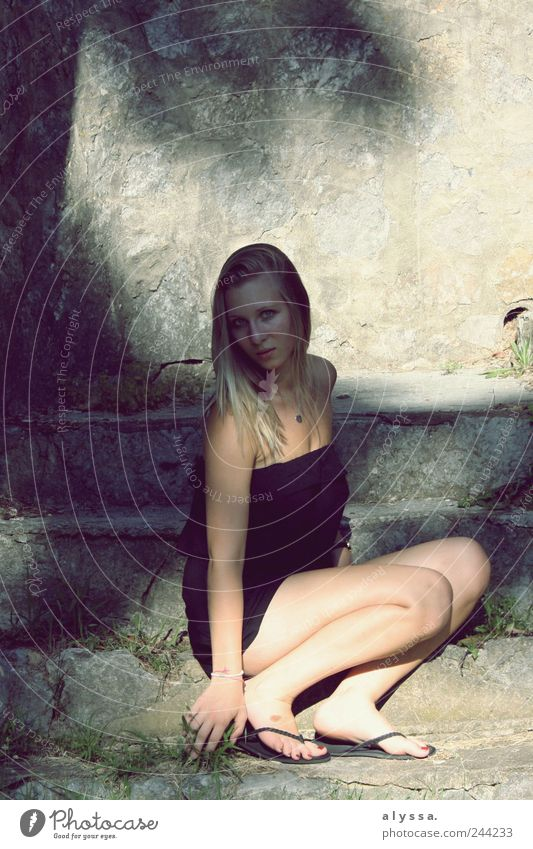Human being Youth (Young adults) Summer Black Adults Feminine Wall (building) Gray Grass Wall (barrier) Blonde Stairs 18 - 30 years Long-haired Young woman Woman