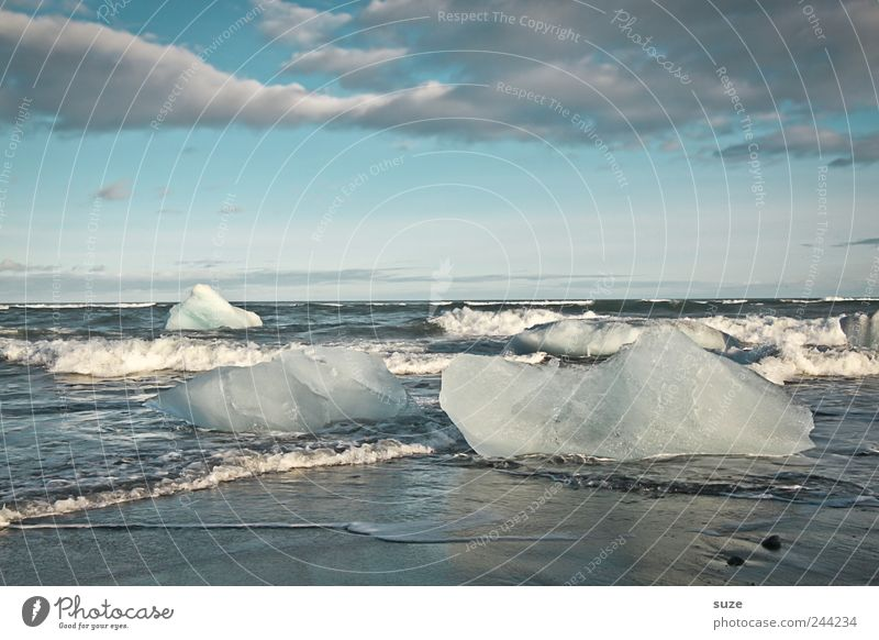 Iceland Vacation & Travel Beach Ocean Waves Environment Nature Landscape Elements Water Sky Horizon Climate Climate change Frost Coast Cold Black White