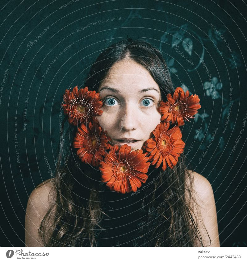 a girl with blue eyes and long hair with a beard of gerbera flowers Lifestyle Happy Beautiful Face Relaxation Human being Feminine Young woman