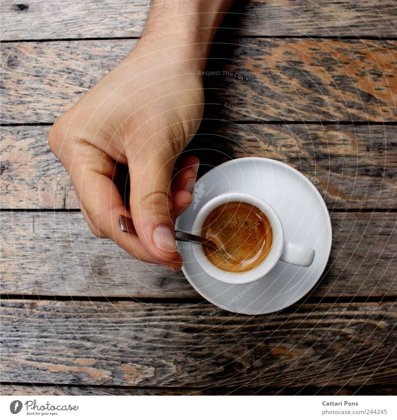 espresso Hot drink Coffee Espresso Cup Spoon Elegant Drinking Hand Make Fluid Good Delicious To enjoy Wood Table Stir Mix Caffeine Watchfulness Bitter Strong