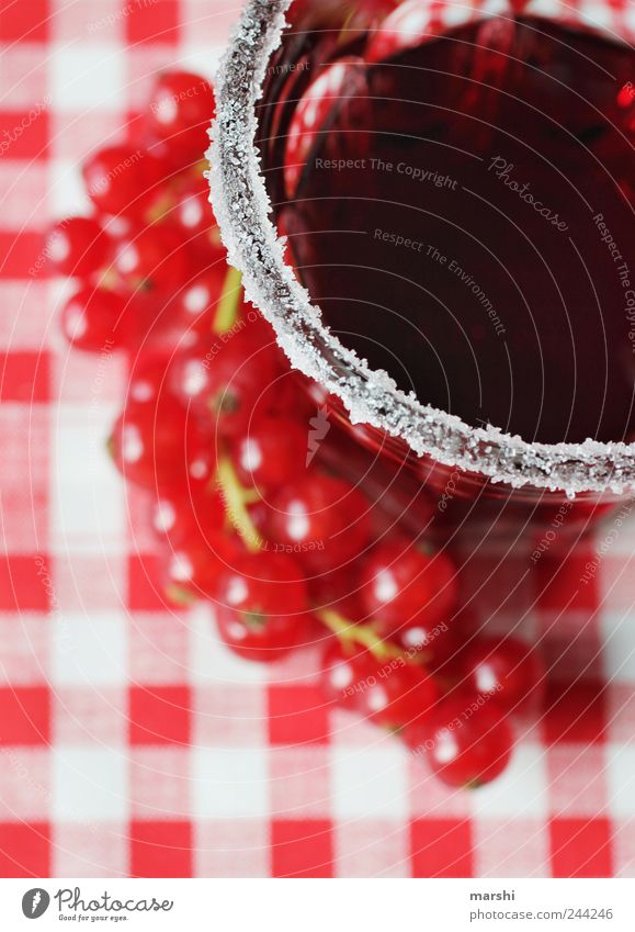 sweet & sour Food Fruit Nutrition Beverage Drinking Cold drink Juice Glass Red Sugar Redcurrant Blur Perspective Sweet Sour Converse Checkered Colour photo