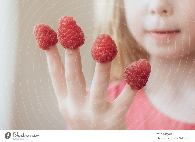 Blonde girl put raspberries on her fingers Feminine Infancy by hand 1 Human being 3 - 8 years Child Berries Eating To enjoy smile Playing Happiness Fresh
