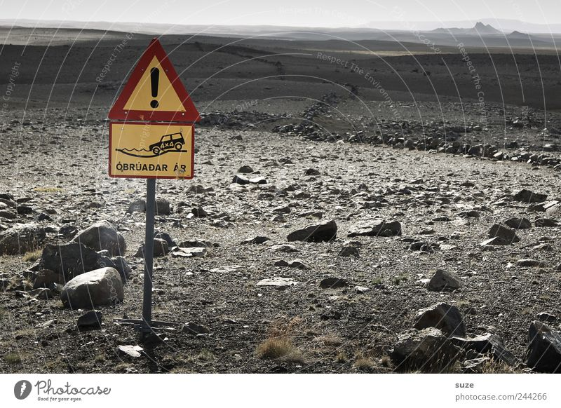Nature Stone Lanes & trails Landscape Horizon Signs and labeling Earth Dangerous Ground Target Signage Dry Iceland Warning label In transit Warn