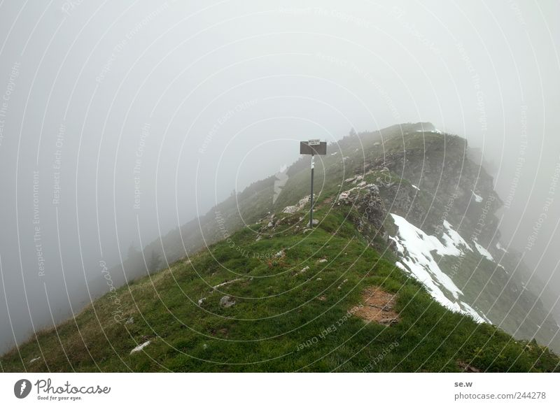 Green Calm Clouds Dark Cold Snow Autumn Mountain Grass Gray Rain Environment Fog Hiking Signs and labeling Rock
