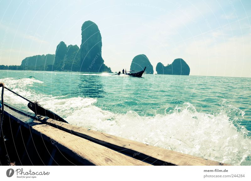 Water Vacation & Travel Rock Island Asia Thailand Cliff Phuket Krabi Rai Leh Beach Rai Leh peninsula Longboat