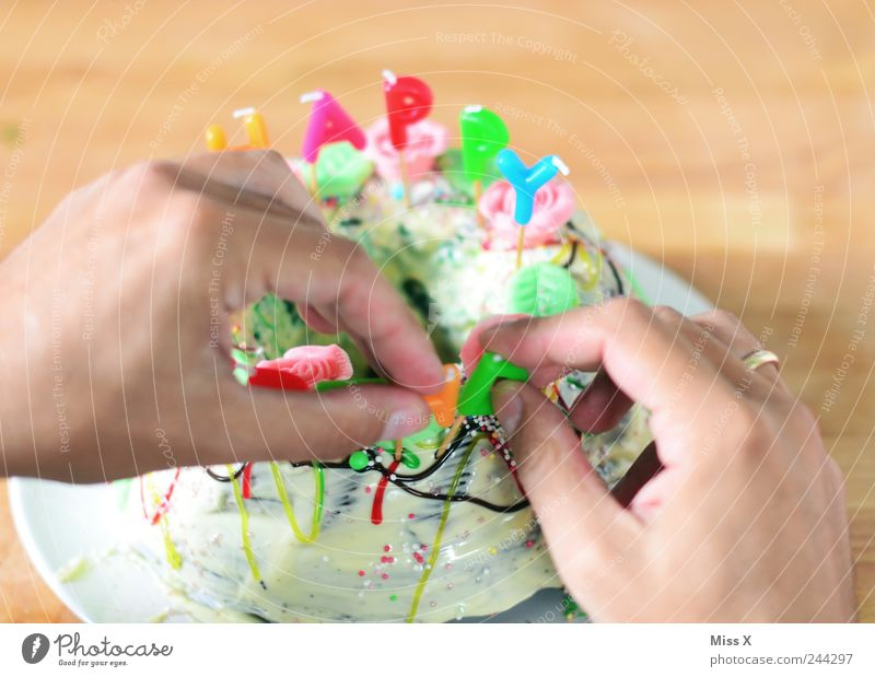 Hand Nutrition Feasts & Celebrations Food Birthday Fingers Sweet Candle Decoration Delicious Cake Candy Chocolate Baked goods Embellish Dough