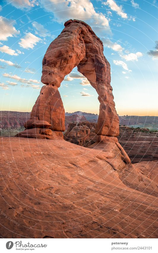 Delicate Arch at sunset in Arches National Park, Utah, USA Trip Nature Landscape Canyon Brown Yellow Orange Beautiful America Gateway Arch cliff desert Erosion