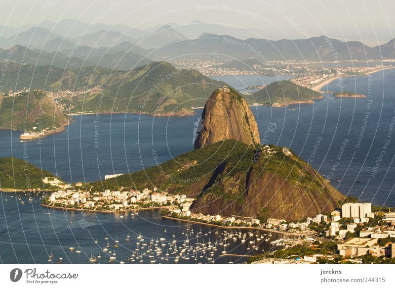 Sugar Loaf Nature Landscape Water Mountain Sugar Loaf Mountain Bay Rio de Janeiro Brazil Capital city Tourist Attraction Landmark Vacation & Travel Distress