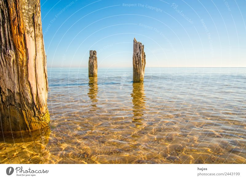 Stolpmünde, Baltic Sea in Poland with remains of a war mole Vacation & Travel Tourism Summer Beach Nature Sand Historic Blue Ustka Ocean clear Sky vacation